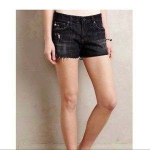 AG Black The Bonnie Relaxed Distressed Jean Shorts